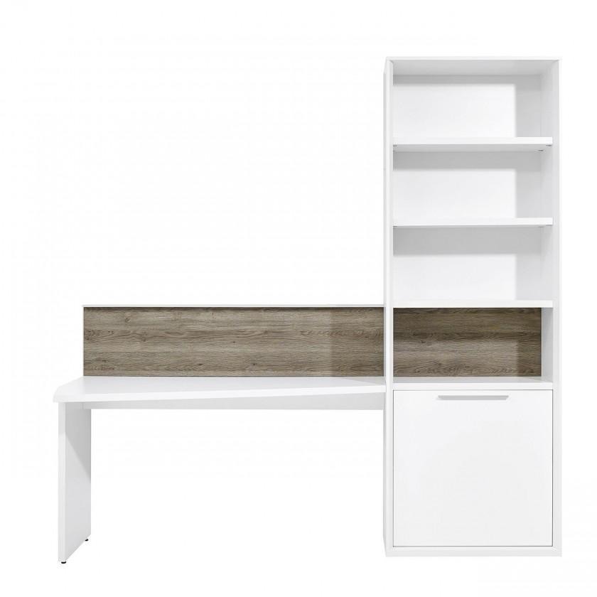 Regál Gamble - Regál so stolom 570711L (biela/biela lesk/panel dub tm)
