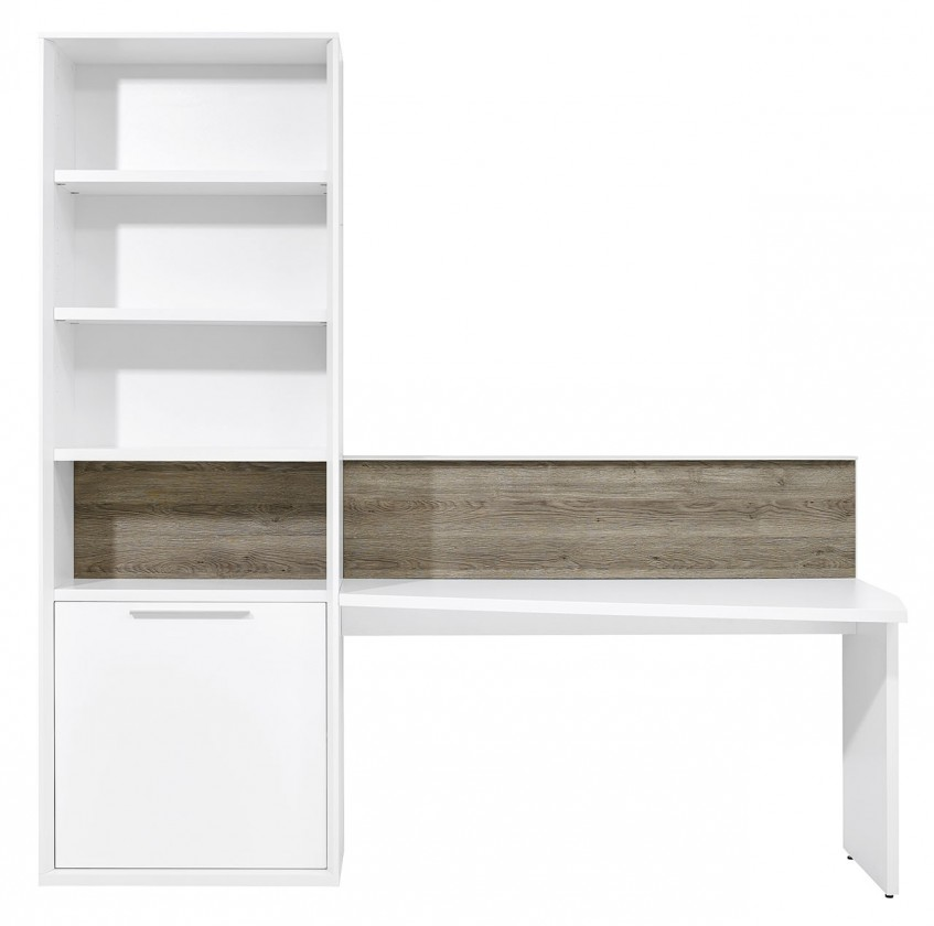 Regál Gamble - Regál so stolom 570711R (biela/biela lesk/panel dub tm)