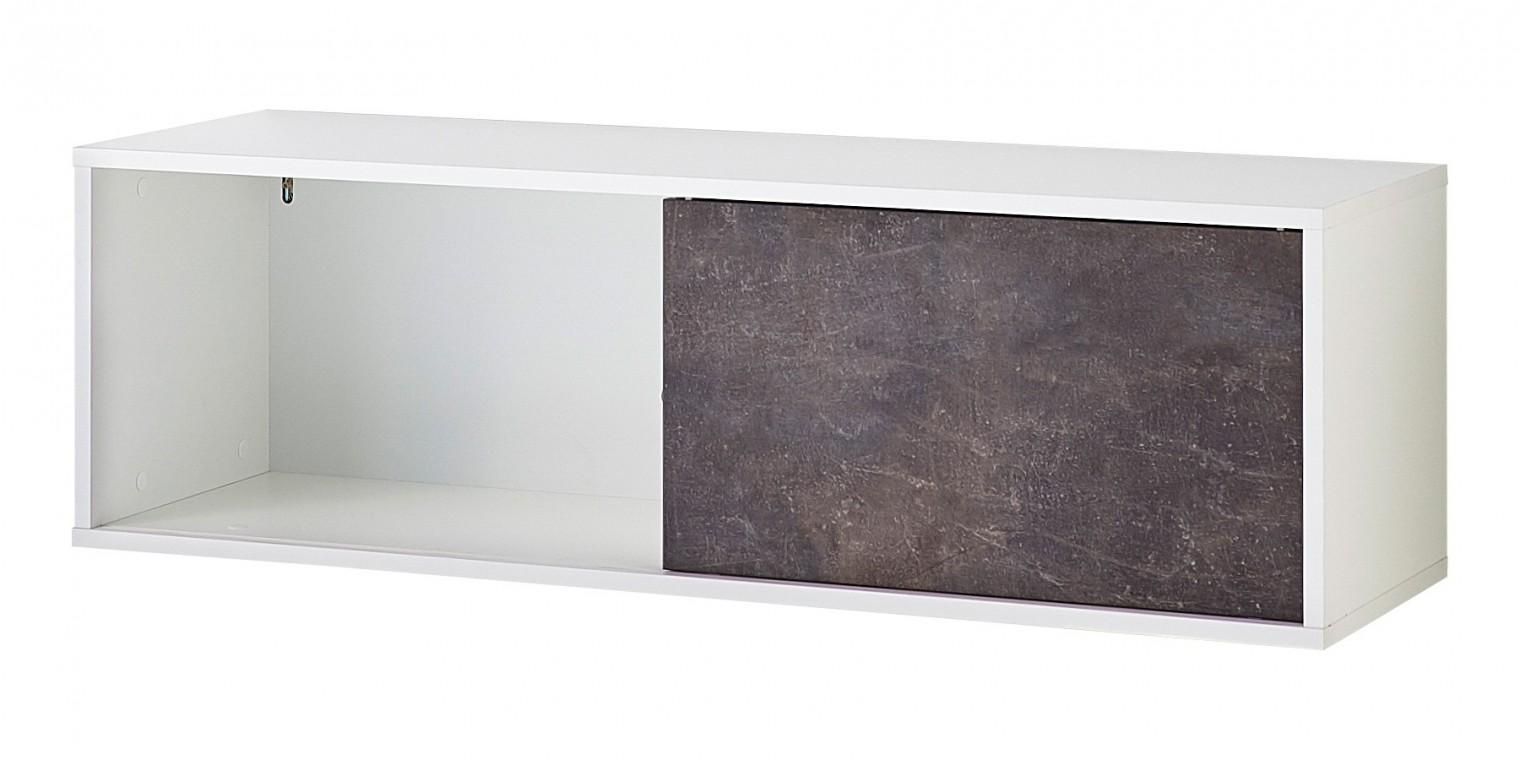 Regál GW-Altino - Regál s posuvnými dverami (biela/čedičová sivá)