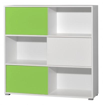 Regál Slide - regál s posuvnými dverami, 119 cm (biela/zelená)