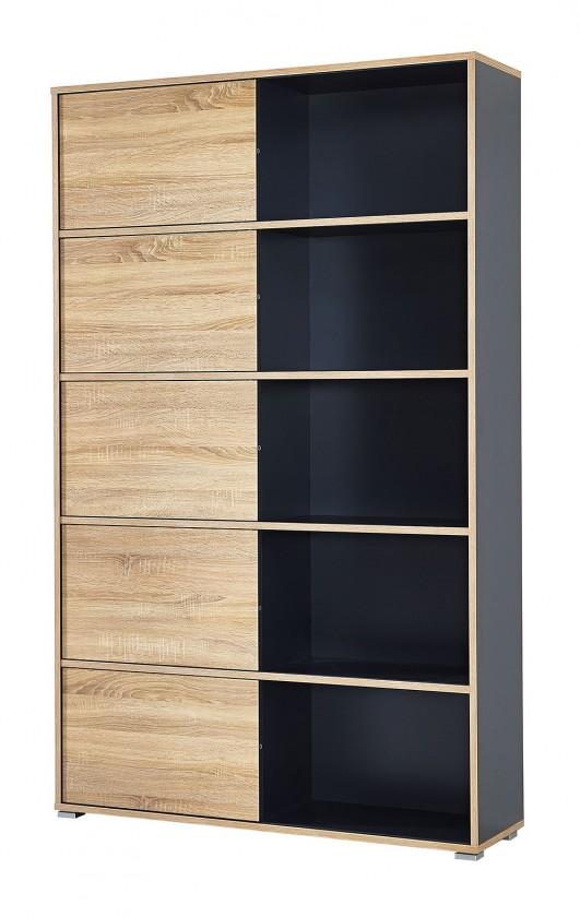Regál Slide - regál s posuvnými dverami, 196 cm (antracit/dub sonoma)