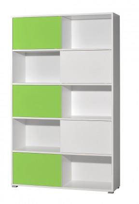 Regál Slide - regál s posuvnými dverami, 196 cm (biela/zelená)