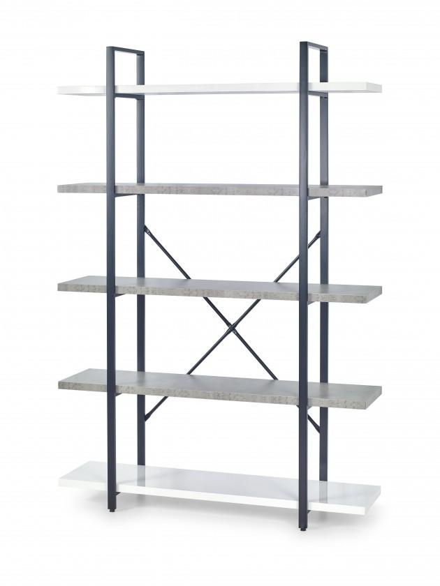 Regál Stonno - regál vysoký (bielá/beton)
