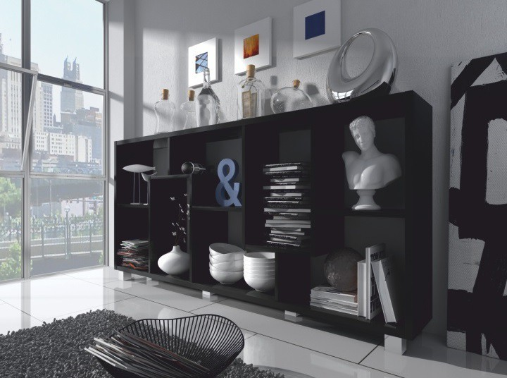 Regál Zig Zag - regál, nízky (čierna)