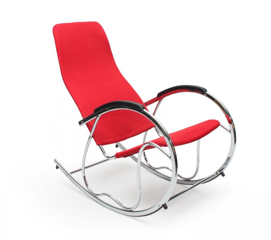 Relaxačné Ben 2 - Hojdacie kreslo (látka červená/chrom)