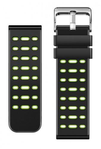 Remienok Aligator, š. 22mm, silikón, čierna/zelená