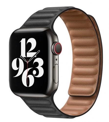 Remienok na Apple Watch 38/40 mm, Double Suction kožený, čierny