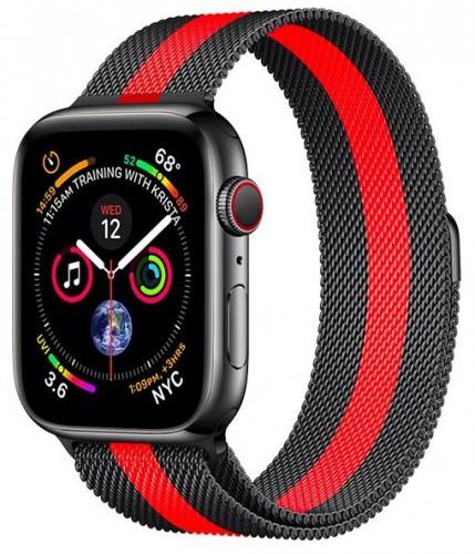 Remienok na Apple Watch 42/44 mm, oceľový, červený/čierny