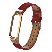 Remienok pre Xiaomi Mi Band 3/4 kožený lichee, červená