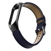 Remienok pre Xiaomi Mi Band 3/4 kožený lichee, modrá
