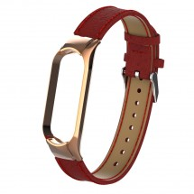 Remienok pre Xiaomi Mi Band 5 kožený licheečervená