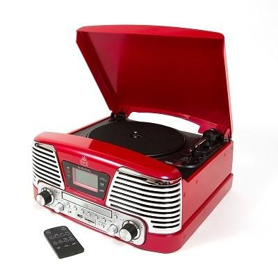 Retro gramofón GPO Memphis, červený