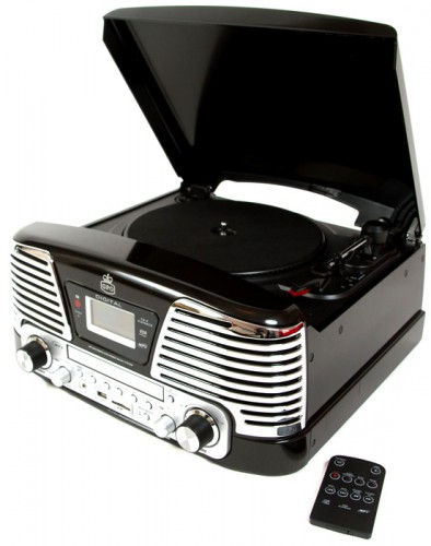 Retro gramofón GPO Memphis, čierny
