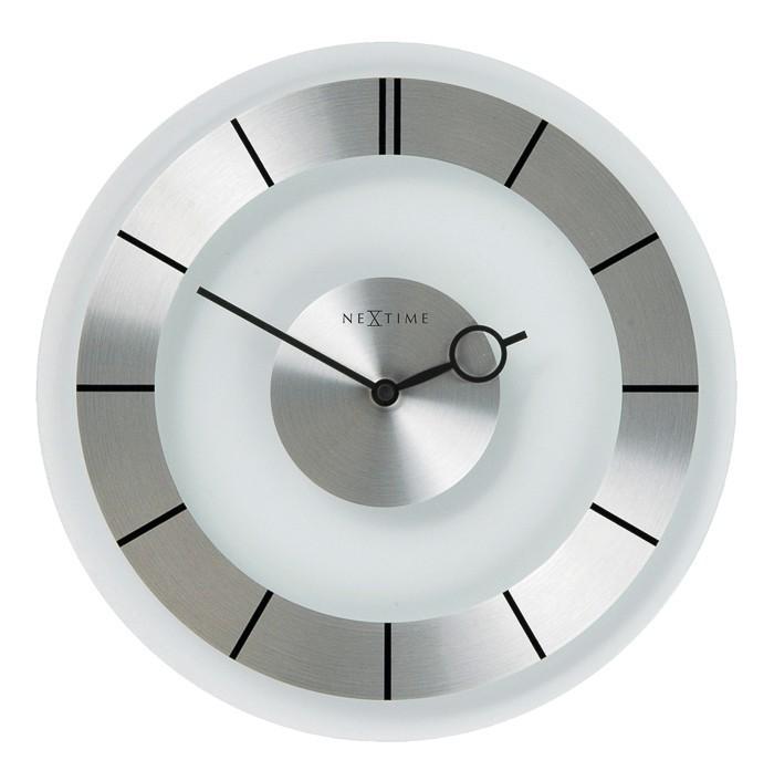 Retro - hodiny, nástenné, guľaté (sklo, biele)
