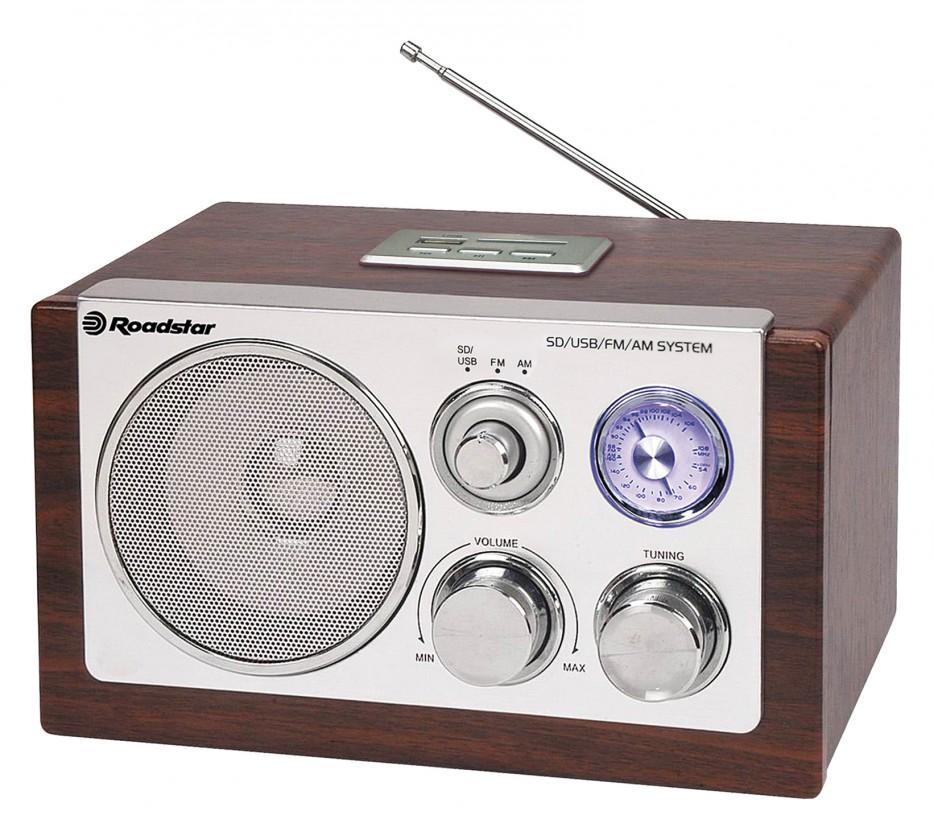 Retrorádio  Roadstar dřevěné rádio HRA-1320 US/Wood