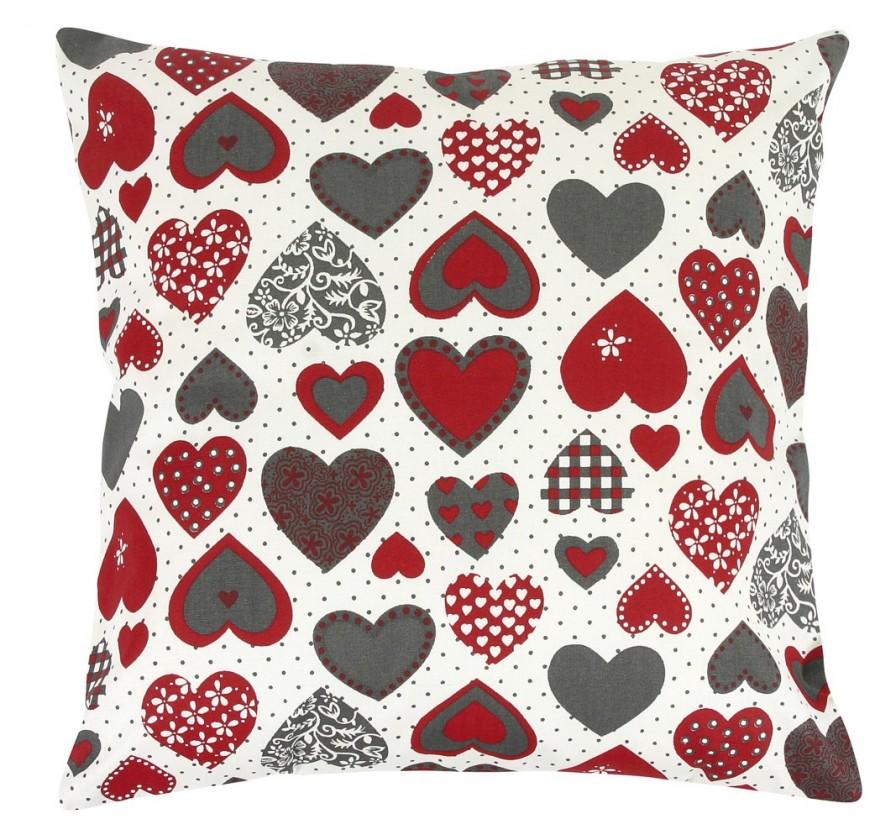 Rita - Vankúšik 40x40cm (srdce červeno-sivé)