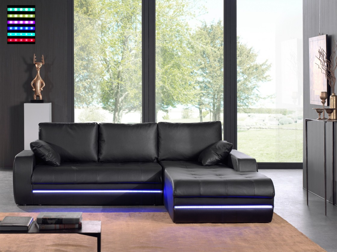 Rohová Flash-roh pravý, s LED osvetlením (pu black)