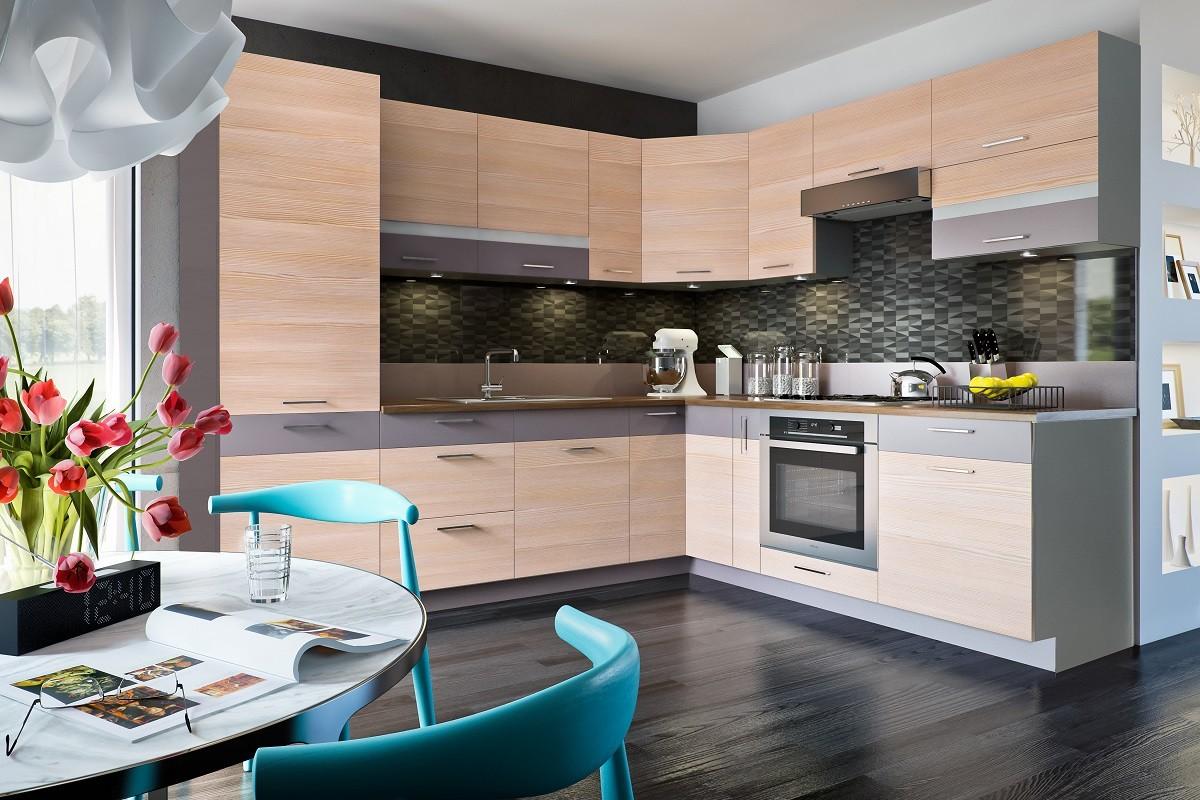 Rohová Fresh - Rohová kuchyne 270/225 cm (truffel, bodega svetlá)