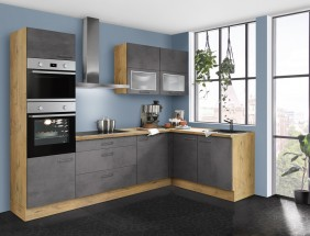 Rohová kuchyňa Birgit ľavý roh 275x155 cm (tmavý betón, dub)