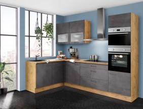 Rohová kuchyňa Birgit pravý roh 275x155 cm (tmavý betón, dub)