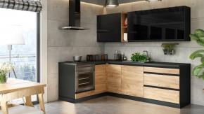 Rohová kuchyňa Brick ľavý roh 240x160 cm (čierna/dub craft)