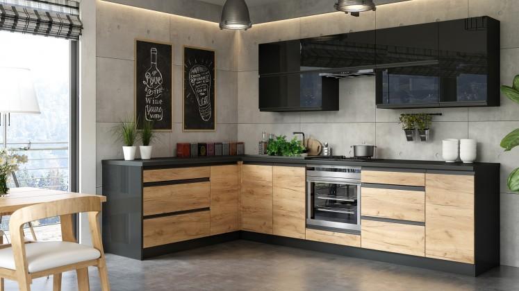 Rohová Kuchyňa Brick - ľavý roh, 300x182 cm (čierna vysoký lesk/craft)