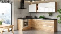 Rohová kuchyňa Brick light ľavý roh 240x160 cm (biela/dub craft)