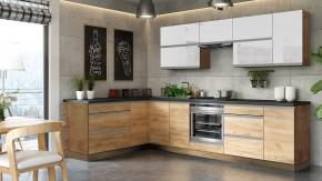 Rohová kuchyňa Brick light ľavý roh 300x182 cm(biela lesk/craft)