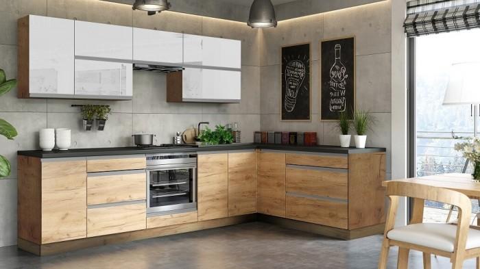 Rohová kuchyňa Brick light pravý roh 300x182cm(biela lesk/craft)