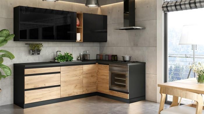 Rohová kuchyňa Brick pravý roh 240x160 cm (čierna/dub craft)