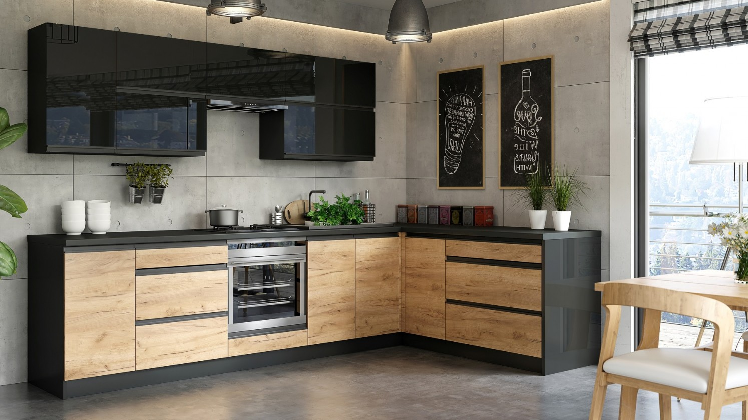 Rohová Kuchyňa Brick - pravý roh, 300x182 cm (čierna vysoký lesk/craft)