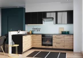 Rohová kuchyňa Dixie ľavý roh 275x180 cm (čierna/dub)