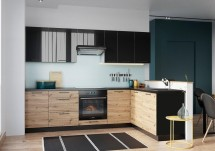 Rohová kuchyňa Dixie pravý roh 275x180 cm (čierna/dub)