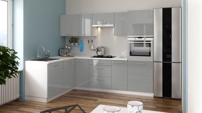 Rohová kuchyňa Emilia Lux ľavý roh 260x180 cm (sivá lesk)