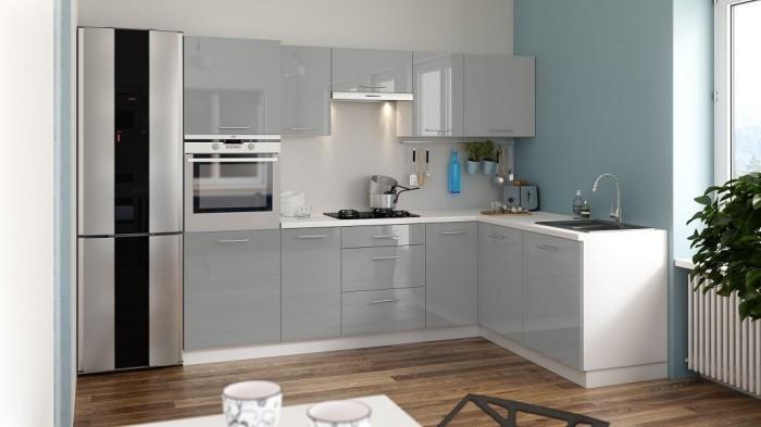 Rohová kuchyňa Emilia Lux pravý roh 260x180 cm (sivá lesk)