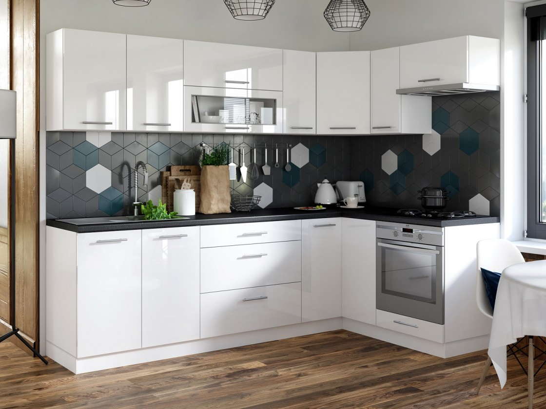 Rohová Kuchyňa Emilia pravý roh 243x143 cm (biela vysoký lesk/čierna)