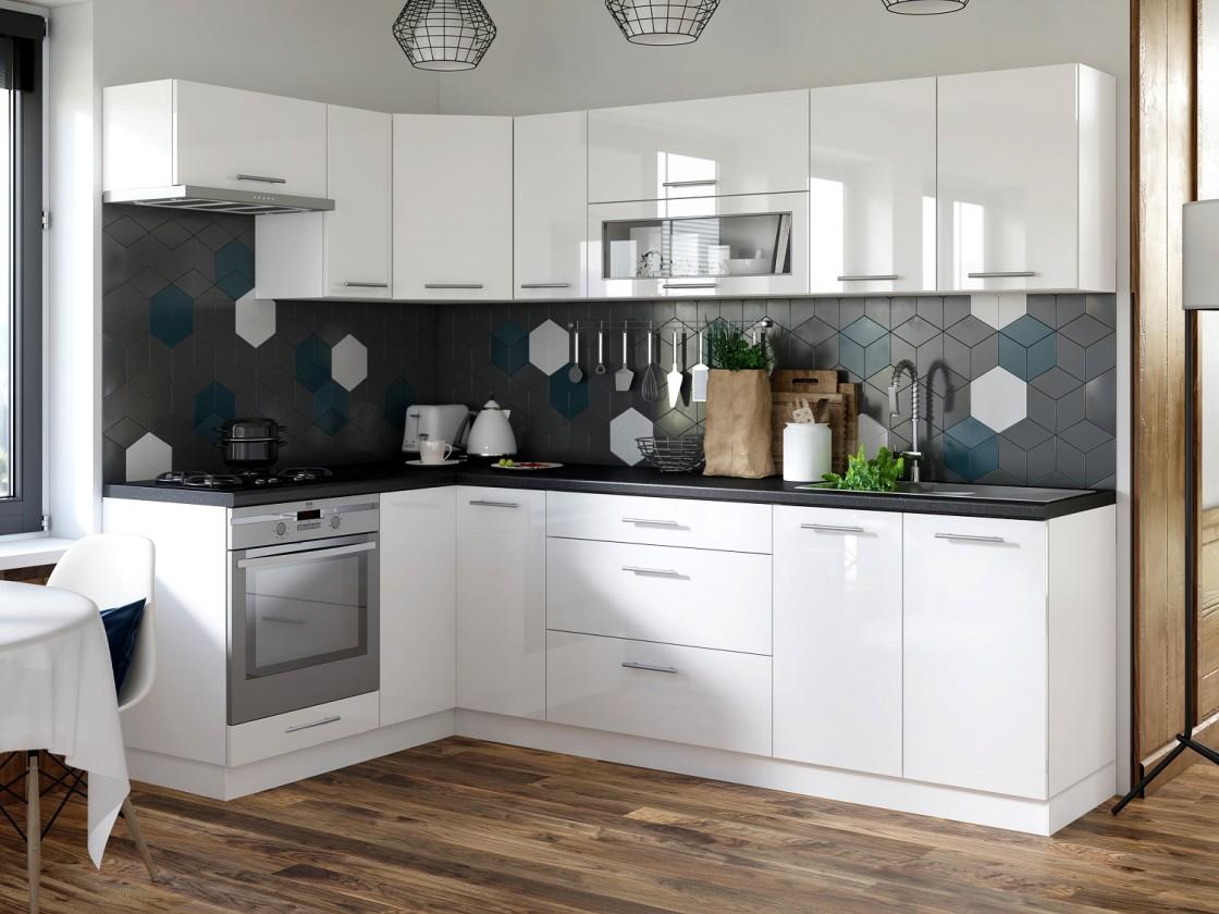 Rohová Kuchyňa Emilia pravý roh 250x150 cm (biela vysoký lesk/čierna)