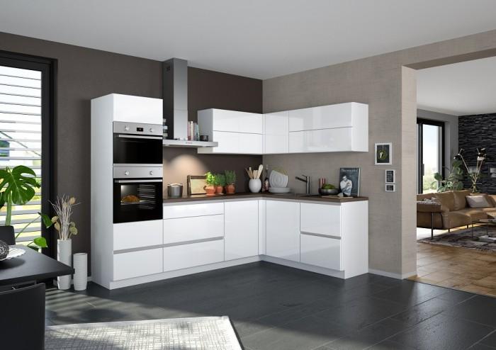 Rohová kuchyňa Eugenie ľavý roh 260x180 (biela,vysoký lesk, lak)