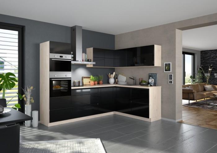 Rohová kuchyňa Eugenie ľavý roh 260x180 (čierna,vysoký lesk,lak)