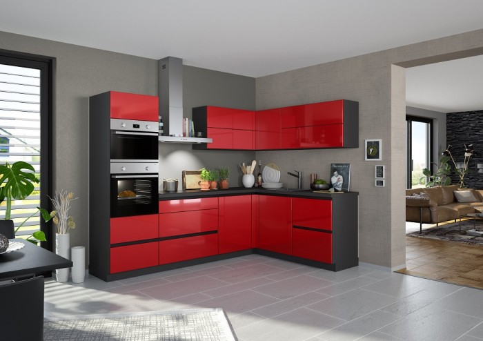 Rohová kuchyňa Eugenie ľavý roh 275x185(červená,vysoký lesk,lak)
