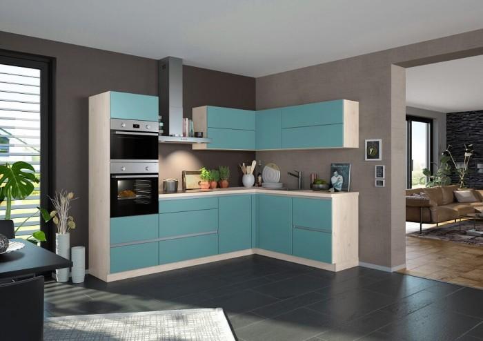 Rohová kuchyňa Eugenie ľavý roh 275x185cm (petrol, matná)