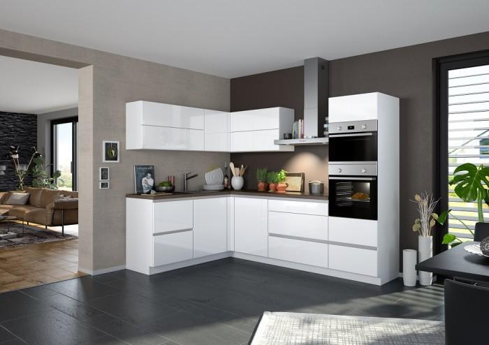 Rohová kuchyňa Eugenie pravý roh 275x185 (biela,vysoký lesk,lak)