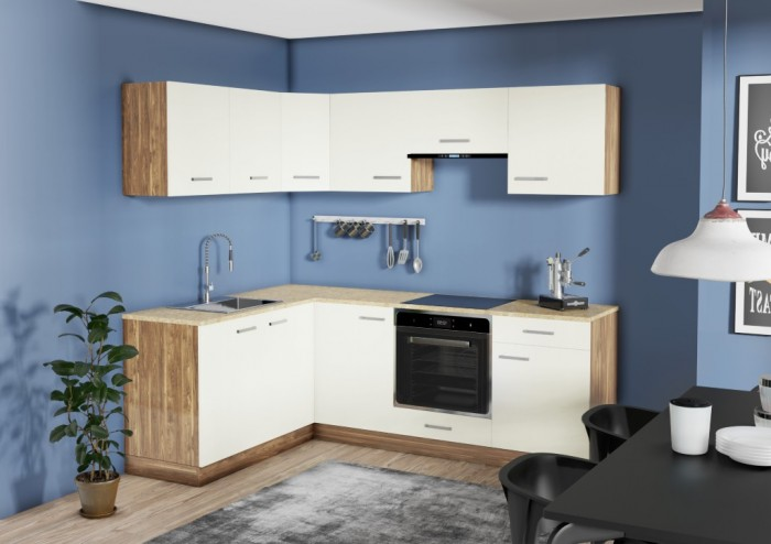 Rohová kuchyňa Evelin ľavý roh 220x160 cm - II. akosť
