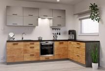 Rohová kuchyňa Felicita pravý roh 300x180 cm (sivá, dub lefkas)