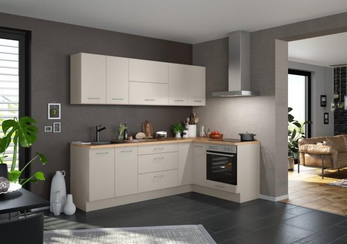 Rohová kuchyňa Inge ľavý roh 250x150 cm (sivá, dub).