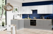 Rohová kuchyňa Jodie ľavý roh 290x180 cm(biela,sivá,vysoký lesk)