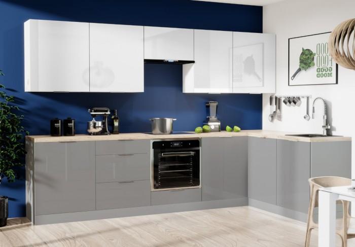 Rohová kuchyňa Jodie pravý roh 290x180cm(biela,sivá,vysoký lesk)