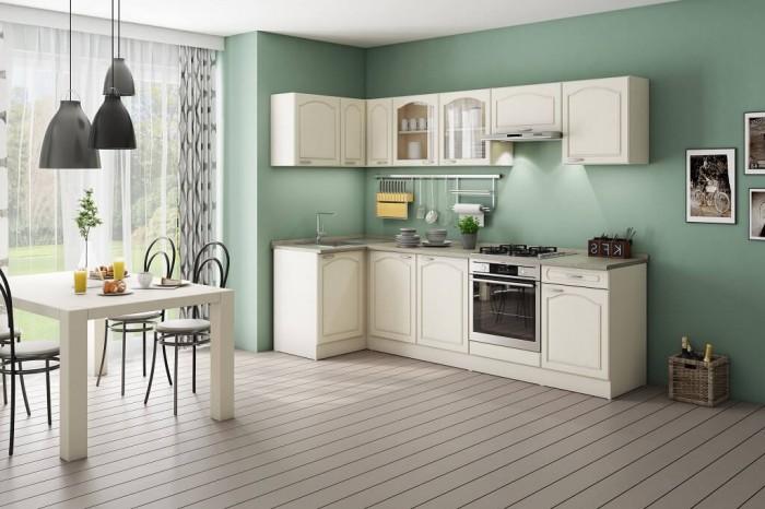 Rohová kuchyňa Julia ľavý roh 270x110 cm vanilka/magnólia/piesok