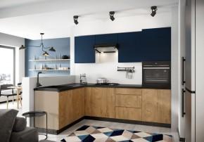 Rohová kuchyňa Leya ľavý roh 255x170 cm (modrá mat/drevo)