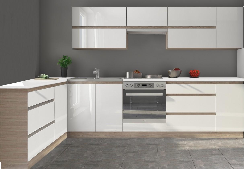 Rohová Kuchyňa Line - 320x160 cm (biela vysoký lesk/dub sonoma)